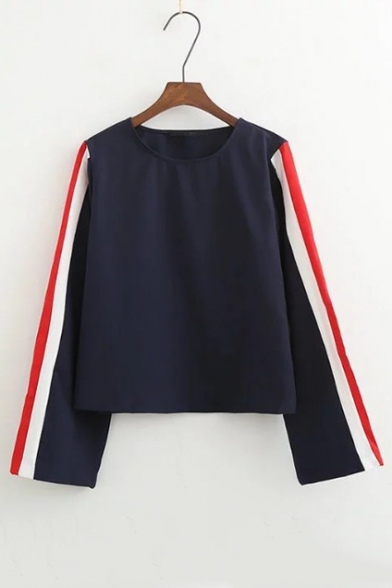 Women's Contrast Striped Long Sleeve Round Neck Casual T-Shirt