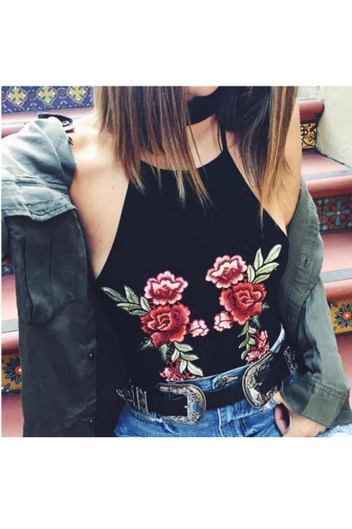 New Fashion Floral Embroidered Halter Neck Open Back Cropped Cami Top