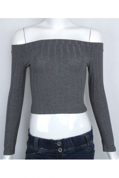New Sexy Off the Shoulder Long Sleeve Plain Pullover Cropped Sweater