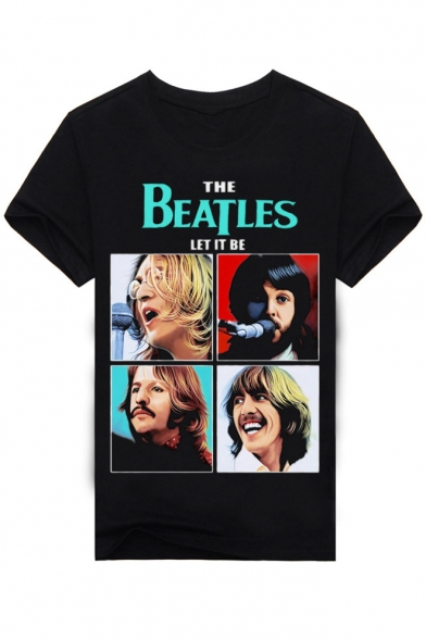 New Fashion The Beatles Orchestra Printed Round Neck Short Sleeve Graphic Tee