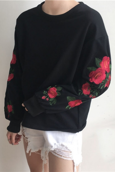 Round Neck Long Sleeve Floral Rose Embroidered Casual Loose Pullover Sweatshirt