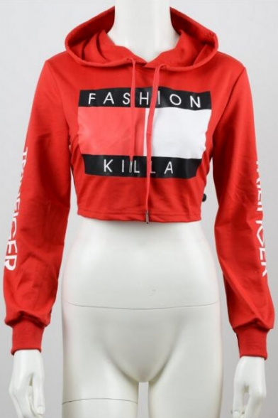 Fashion Drawstring Hooded Letter Printed Long Sleeve Cropped Hoodie Sweatshirt