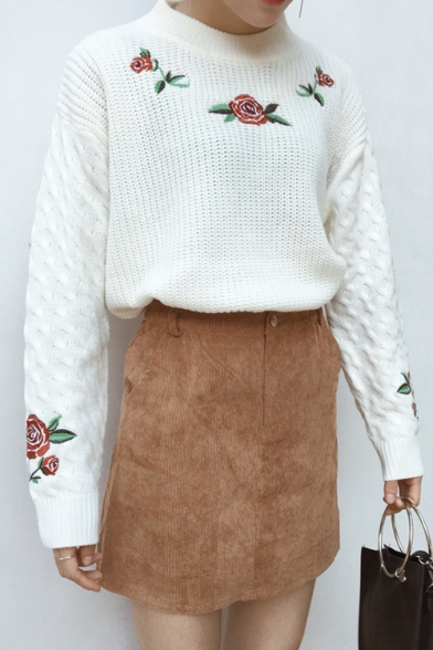 1442f0bf2f3702 ... New Fashion Retro Rose Embroidered Round Neck Long Sleeve Cable Knit  Sweater ...