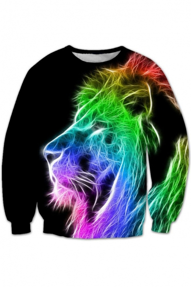 Round Long Printed Sleeve Neck 3D Sweatshirt Pullover Colorful Lion New Stylish 1n0XqR4gX