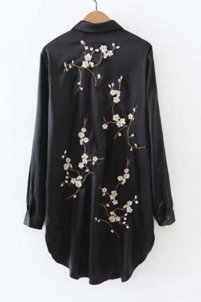 Plum Blossom Embroidered Back Lapel Collar Long Sleeve High Low Hem Tunic Shirt