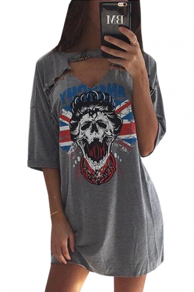 Round Neck Half Sleeve Hollow Out Printed Tunic Leisure Graphic T-Shirt