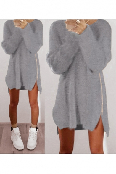 Round Neck Long Sleeve Zip Side Slit Plain Leisure Loose Tunic Sweater