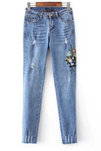 Women's Mid Waist Embroidery Floral Pattern Ripped Skinny Jeans