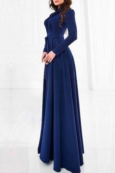 Back Sleeve Long Dress Zip Waist Elegant Plain Belt Glamorous Maxi PZ4H1H