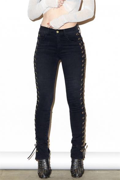New Arrival Grommet Crisscross Side Plain Skinny Jeans