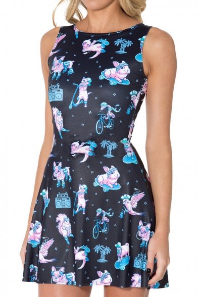 Women's Round Neck Sleeveless Cat Printed A-Line Mini Skater Dress