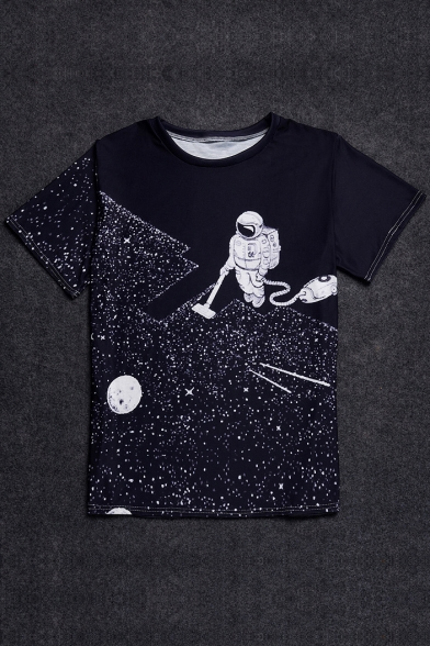 Stylish Round Astronaut Neck T Shirt Short Pullover Sleeve Digital Printed A0qSxZ
