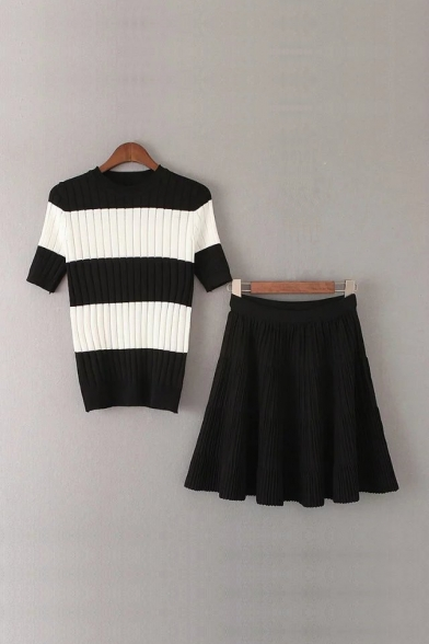 Fashion Striped Color Block Short Sleeve Sweater with Plain Pleated Skirt Co-ords