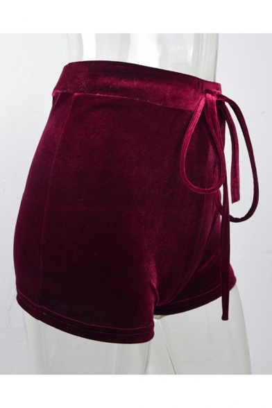 Women's Fashion Drawstring Mid Waist Plain Velvet Hot Pants