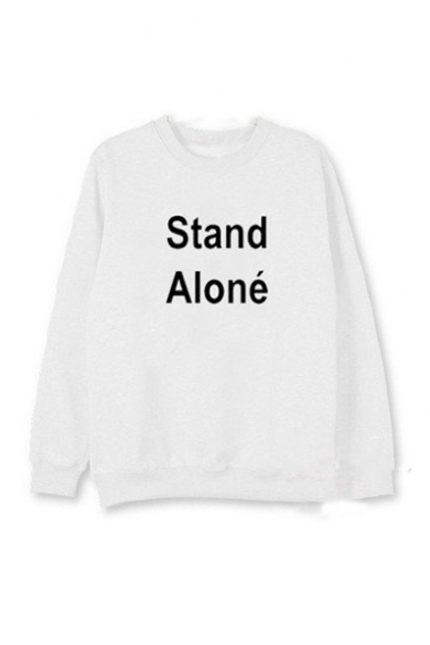 Basic Round Neck Long Sleeve Letter Printed Relaxed Pullover Sweatshirt