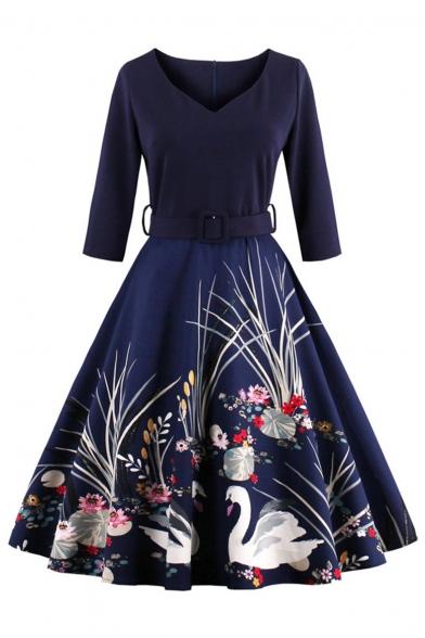 Glamorous Half Sleeve V-Neck Belt Waist Printed Midi A-Line Dress