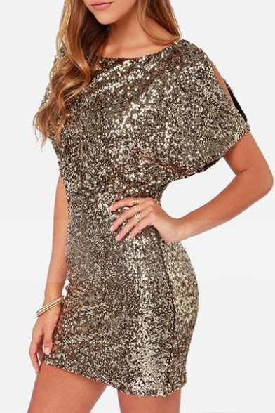 6e08ccfe0955 ... New Sexy Split Back Short Sleeve Sequined Mini Bodycon Dress ...