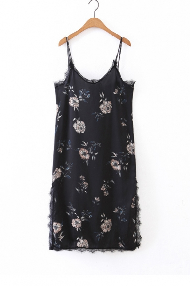 Spaghetti Straps Lace Patchwork Trim Split Side Floral Printed Cami Dress