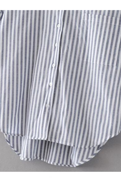 50b09ee3c2d954 ... Vertical Striped Color Block V-Neck Dropped Short Sleeve High Low Hem  Button Down Shirt