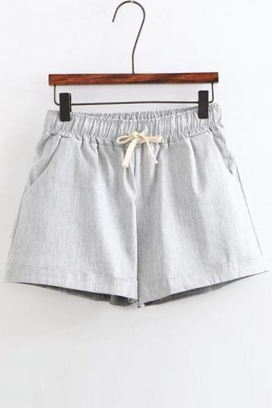 Basic Plain Elastic Drawstring Waist Linen Casual Summer's Shorts