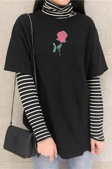 Floral Sleeve Printed Out Neck Hollow with Short Tee Round Fashion dXpq5cwPd