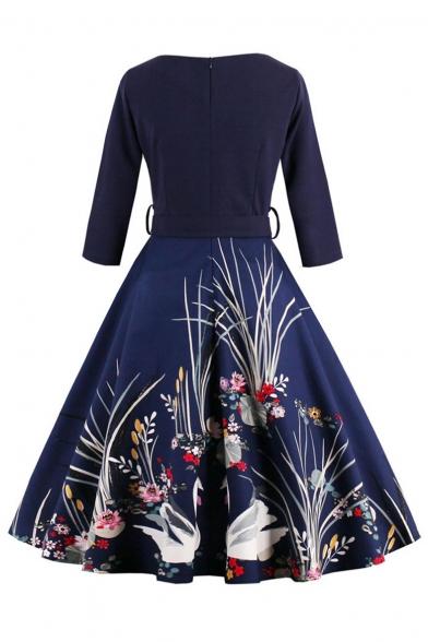 Glamorous Half Sleeve V-Neck Belt Waist Swan Floral Printed Midi Fit & Flare Dress