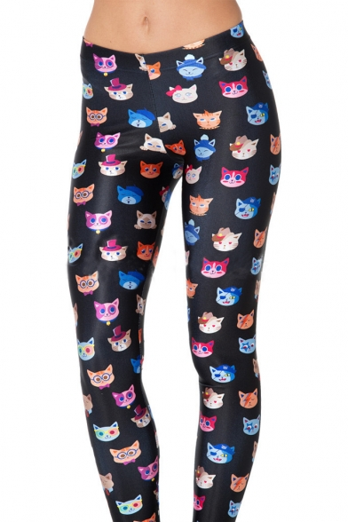 New Arrival Women's Cut Cat Printed Full Length Skinny Leggings