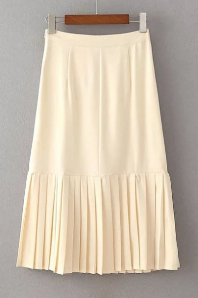 Summer's High Rise Zip Side Plain Pleated Hem Midi Skirt