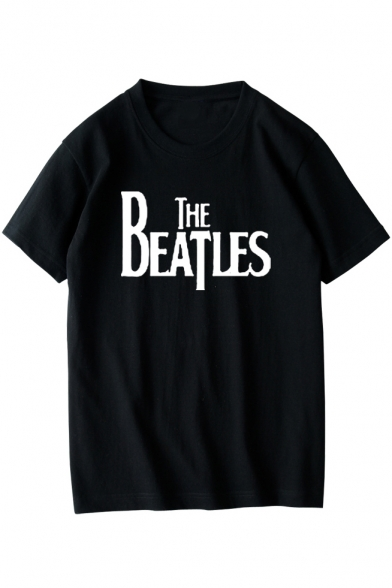 Unisex THE BEATLES Letter Printed Short Sleeve Round Neck Casual Tee