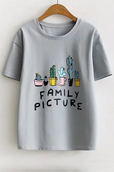 6b0d3088e ... Basic Letter Cactus Printed Round Neck Short Sleeve Summer's Graphic T- Shirt ...