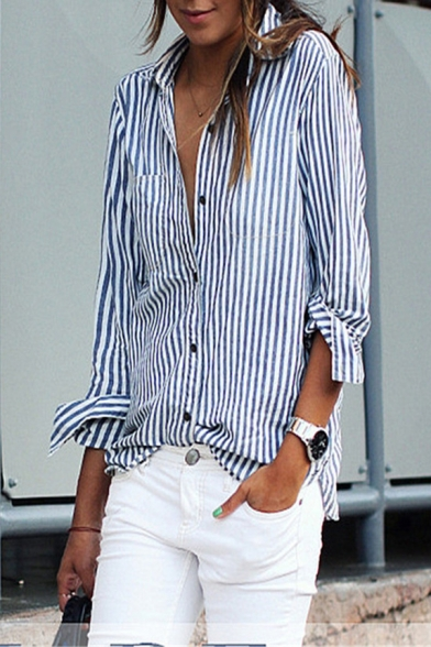 Leisure Vertical Striped Printed Lapel Collar Long Sleeve Shirt with Single Pocket