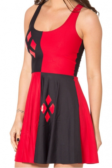 Color Block Tank Skater Dress