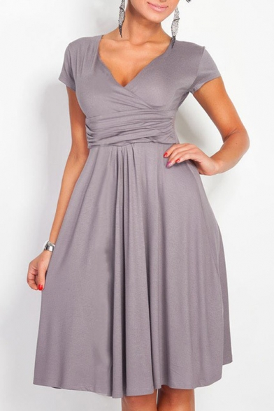 Elegant Plunge Neck Cap Sleeve Solid Color Gathered Waist A-Line Midi Dress