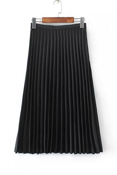 Glamorous Zip Side Plain Maxi Pleated Skirt