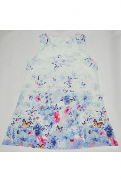 Lady's Round Neck Sleeveless Floral Printed Mini Swing Dress