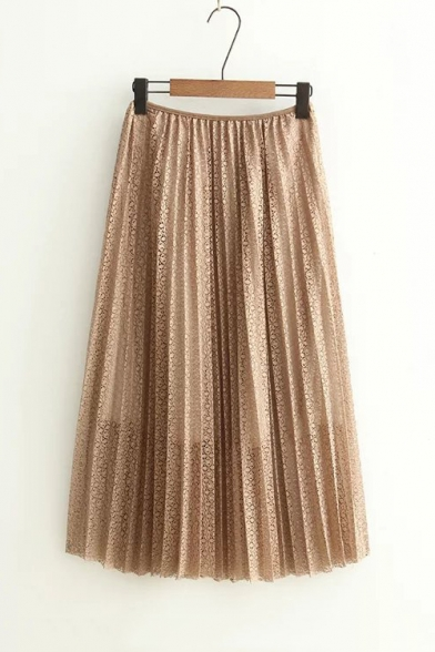 Leisure Hollow Out Lace Plain Midi Swing Skirt