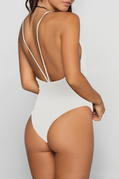 Piece One New Neck Hollow Arrival Plain Spaghetti Straps Sexy Plunge Swimwear Out ppvUZ
