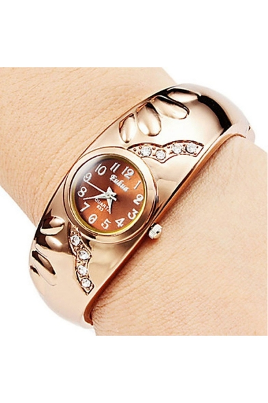 New Stylish Rhinestone Inserted Bracelet Watch