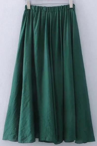 Plain High Rise Elastic Waist A-Line Flared Pleated Midi Skirt