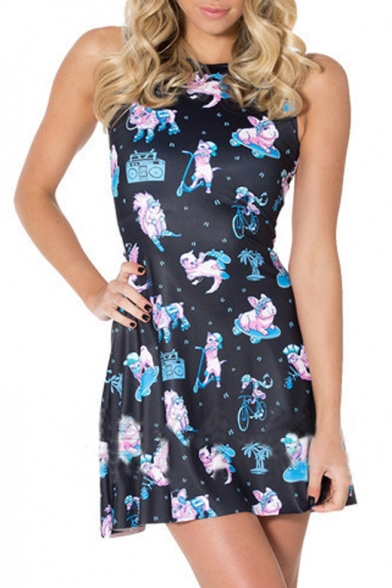 Women's Round Neck Sleeveless Cat Printed A-Line Mini Skater Dress