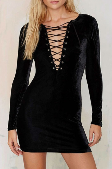 da303498e20de Long Sleeve Plunge Neck Lace Up Front Plain Velvet Mini Bodycon Dress -  Beautifulhalo.com