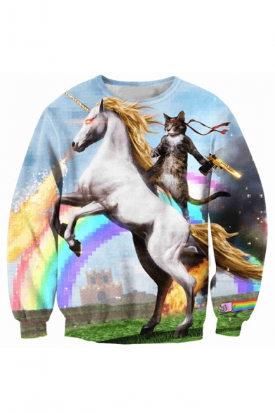 Sweatshirt Digital Horse Sleeve Loose Neck Pullover Fashion Cat Printed Long Round rFB6rwvq