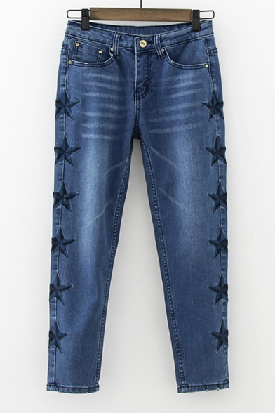 Embroidery Star Pattern Mid Waist Ankle Length Pencil Jeans