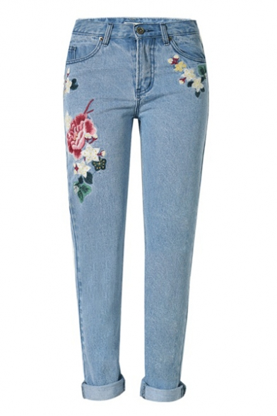 Floral Embroidered Basic Straight Legs Jeans with Pockets