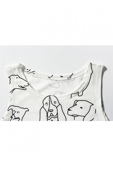 Neck Cropped Printed Round Dogs Arrival Sleeveless Tank New Fitted v0UwEqn