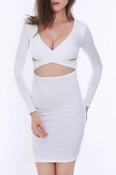 0a3610c841d Sexy Plunge V-Neck Crisscross Cutout Front Long Sleeve Plain Midi Bodycon  Dress ...