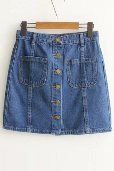 Summer's High Waist Buttons Down Mini A-Line Denim Skirt with ...