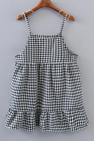ba81e0b4f526 Summer Spaghetti Straps Sleeveless Plaid Ruffle Hem Mini Cami Dress -  Beautifulhalo.com