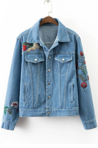 Embroidery Crane Floral Pattern Single Breasted Lapel Denim Jacket