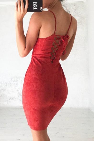 New Fashion Sexy Crisscross Back Spaghetti Straps Plain Bodycon Mini Dress